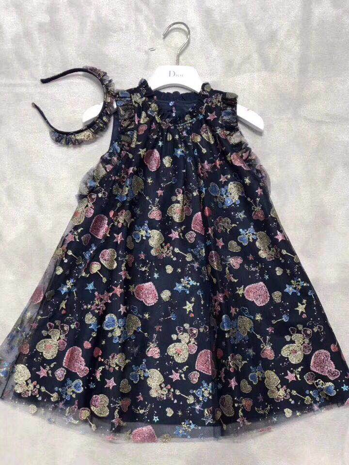 2018 Spring&Autumn Heart Shape Print Sleeveless Mesh Patchwork Boutique Colorful Party Princess Dress Kids Girls Clothing Dress
