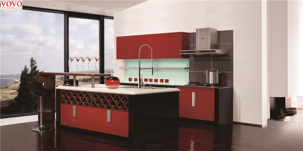 Wine red lacquer kitchen cabinets with wine rack
