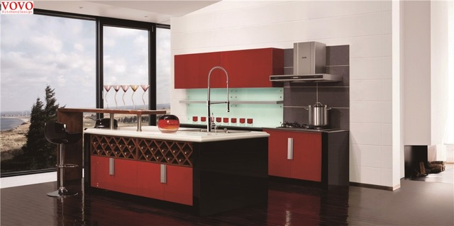 Us 2800 0 Wine Red Lacquer Kitchen Cabinets With Wine Rack In Kitchen Cabinets From Home Improvement On Aliexpress Com Alibaba Group
