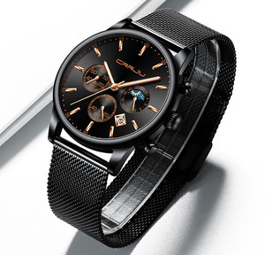 Image 3 - CRRJU relojes para hombre, marca superior, impermeable, negocios, abertura para fecha, reloj de pulsera, correa de malla, reloj de cuarzo informal
