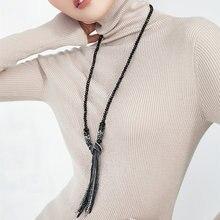 Женское длинное ожерелье с кристаллами heeda Корейская цепочка