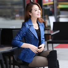 New Korean Short Women'S Leather Jacket Black/Red/Blue Large Size Patchwork Slim Motorcycle Coat Jaqueta De Couro Feminina S2496