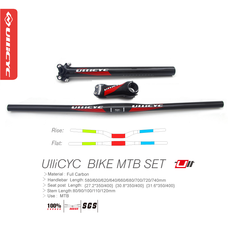 Newest Ullicyc Mountain bicycle UD full carbon handlebar Road carbon bike seatpost alloy stem matt MTB parts set Free ship newest road bicycle matt ud full carbon fibre bike seatposts mountain mtb parts 27 2 30 8 31 6 350 400mm 25mm offset free ship