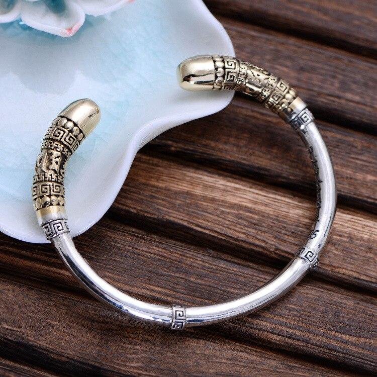 Véritable 925 En Argent Sterling Manchette Bracelets Hommes Singe Roi D'or Trique Haute Poli Bracelet De Qualité Supérieure Bijoux Cadeaux