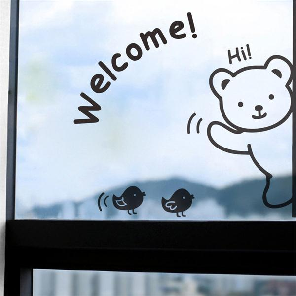 Cute Bear Welcome Quote Wall Stickers Home Decor Vinyl Wallpaper