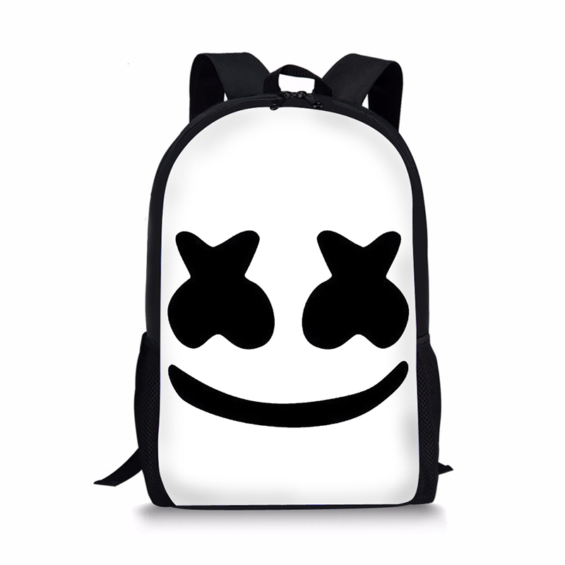 16-Inch Bag School Marshmello Rugzak School Bags Boys Girls Backpacks School Supplies Schoolbag Satchel Kids Bagpack Mask DJ