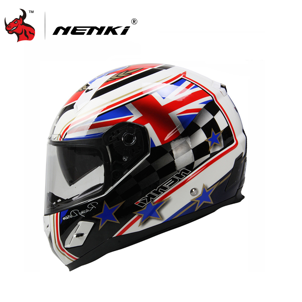 NENKI Motorcycle Helmet Fiberglass Shell Motorbike Riding Helmet Full Face Moto Helmet Capacete De Moto DOT Authentication nenki motorcycle helmets motocross racing helmet motorbike full face helmet capacete de moto for men and women 13 color