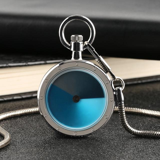 Quartz Pocket WatchUnique Gradual Change Blue Color Dial Turntable Snake Chain M