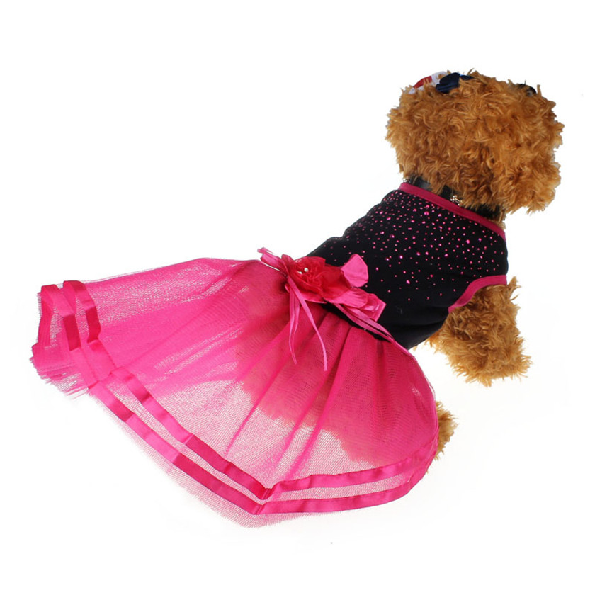 Practical 2018 NEW Fashion Hot Pet Dog Pupp Diamond Pet Dog Flower Dress Tutu Lace Skirt ...