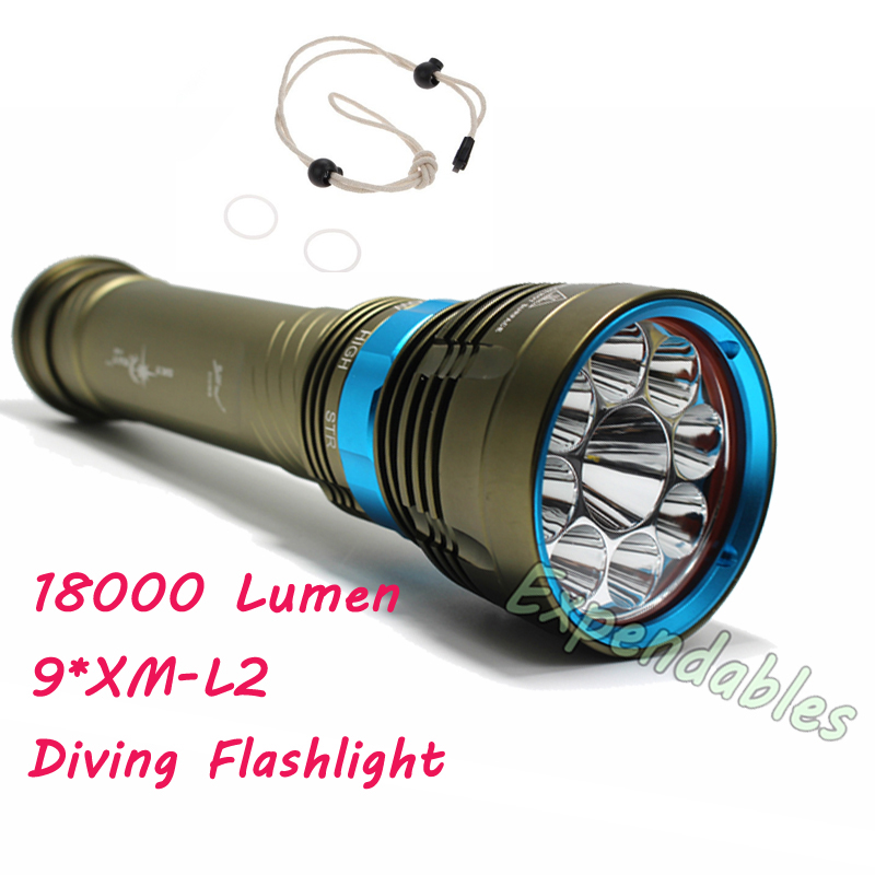 90W 3-Mode 18000 Lumen 9*XM-L2 LED Diving Flashlight Torch 200M Underwater Waterproof LED Flash Light Lantern 30000 lumen xml 9x l2 led underwater 3 mode waterproof led diving flashlight flash light lamp lantern 3 18650 battery charger