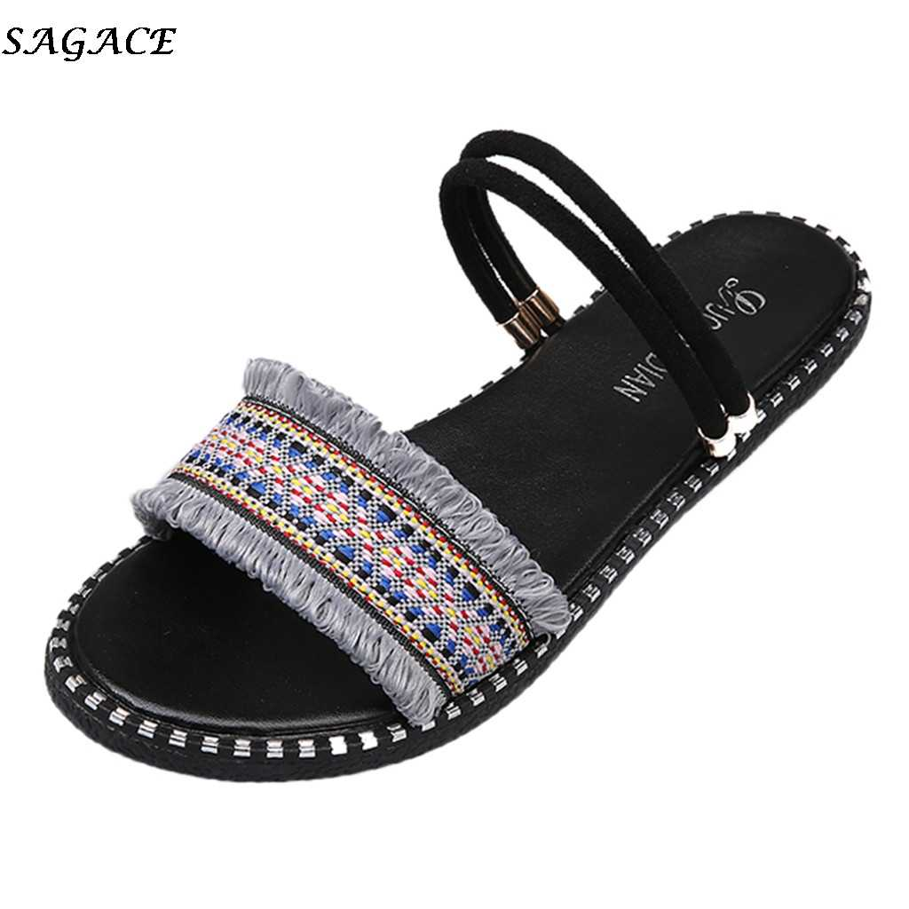 SAGACE Sandals women Fashion Gladiator Sandals Women Summer Flat Shoes Female Bohemian Style Causal Beach Sandal shoes woman #3