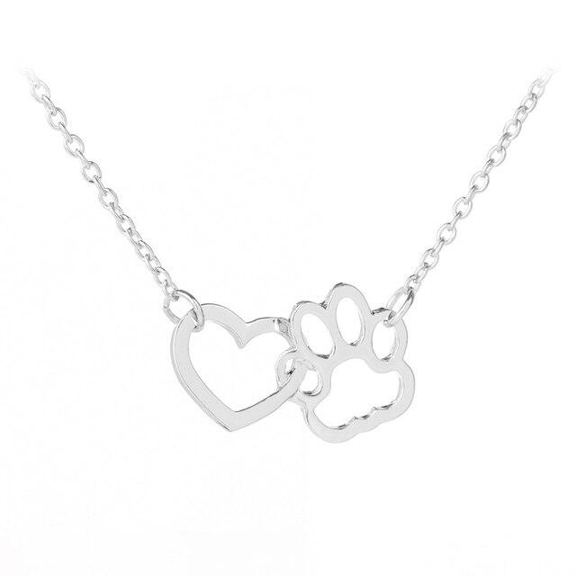 Hollow Pet Paw Footprint Necklaces Cute Animal Dog Cat Love Heart Pendant  5