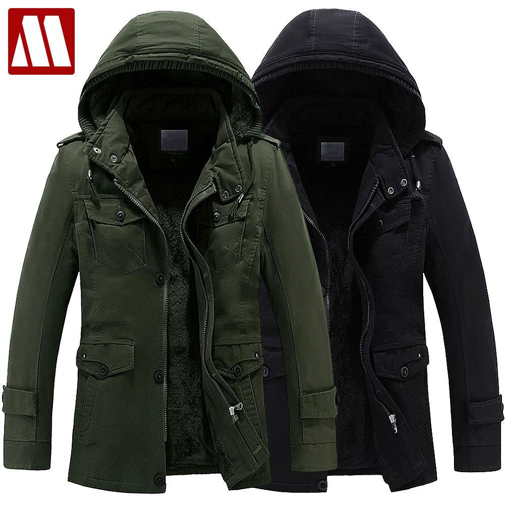 MYDBSH теплое пальто зимнее мужское с капюшоном утолщенное хлопковое пальто в стиле милитари Пальто мужское ветрозащитная Зимняя парка куртк...