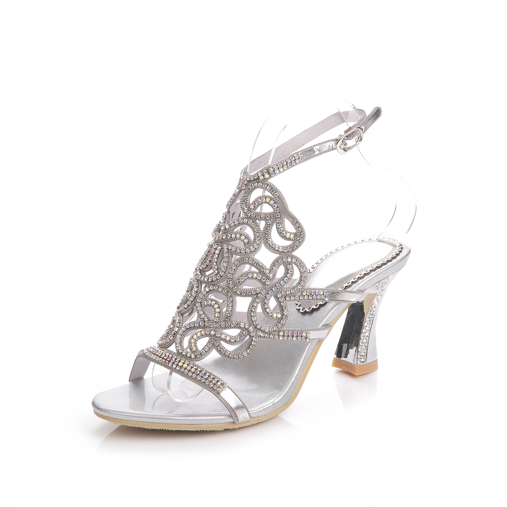 059366ea8d0d Silver Rhinestone Sandals Crystal High Heel Shoes Wedding Shoes Black Gold  Strappy Heels Sandales Femme 8cm