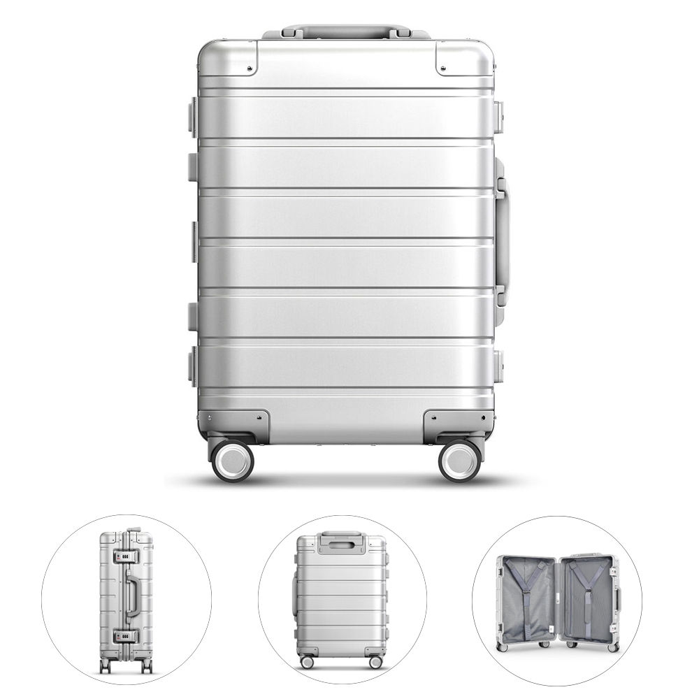 90FUN 20inch Travel Suitcase 31L TSA Lock Aluminum Alloy Durable Large Capacity Spinner Wheel Luggage Carry On Suitcase in Hardside Luggage from Luggage Bags