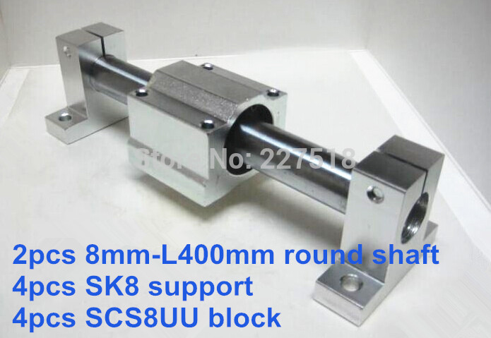 8mm linear set: 2pcs 8mm - 400mm linear round shaft + 4pcs SK8 shaft support + 4pcs SCS8UU linear bearing block new 8mm bearing bushing sc8v sc8vuu scv8uu linear bearing block for 8mm linear shaft