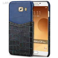 LANGSIDI Phone Case Crocodile Pattern And Wax Leather Mixed Color Half Pack Phone Case For Samsung