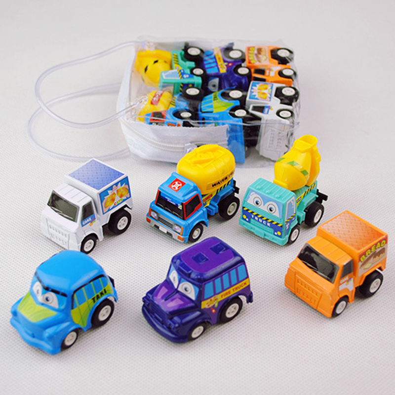 XQ New 6PCS/Lot Mini Plastic Pull Back Wheels Car Vehicle Model Diecast Toy For Children Gift Early Educational Play Game Toys