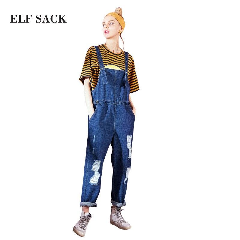 ELF SACK Summer Women 2018 Jeans Women Jumpsuit Denim Romper Overalls Casual Long Trousers Basic Denim Pants Wide Leg Rompers