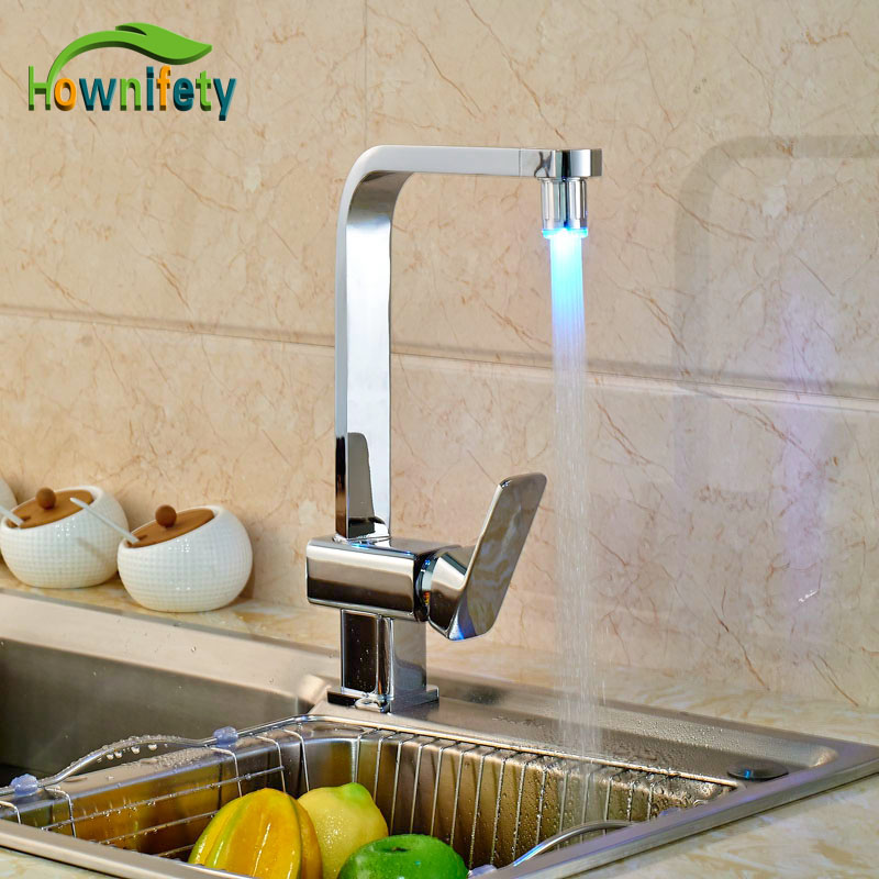 Здесь продается  LED Color Change Kitchen Faucet Deck Mounted Chorme Polish Single Handle One Hole Mixer Tap   Строительство и Недвижимость