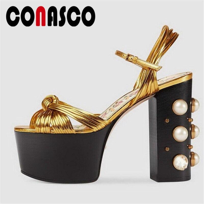 CONASCO Fashion Brand Women Super 12.5CM High Heels Summer Sandals Beading Wedding Party Shoes Woman Platforms Sexy Prom Pumps