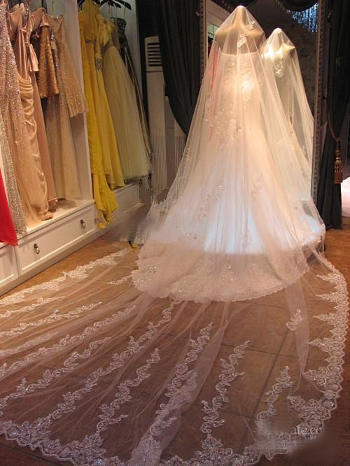 4-Meters-Bridal-Veils-Long-White-Ivory-Lace-Edge-Sparkle-Sequin-3Wedding-Veil-Wedding-Accessories
