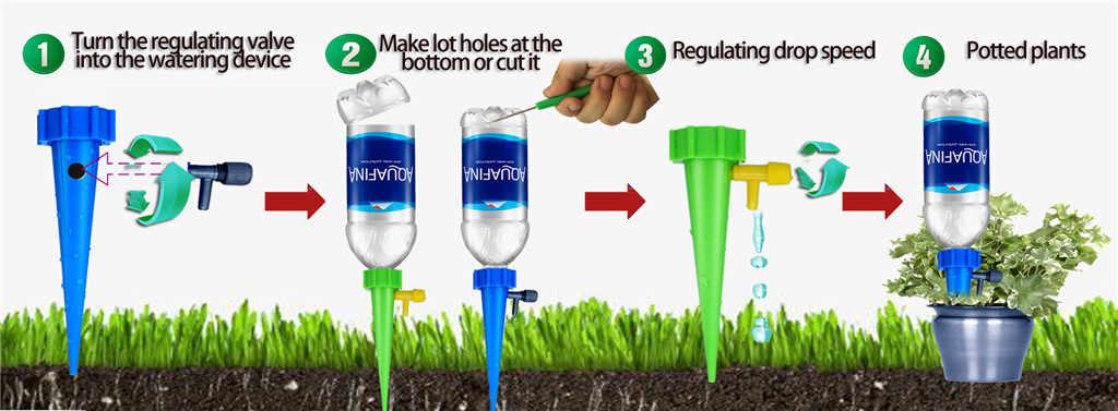 Tưới Cây Tự Động Bộ Dụng Cụ Vườn Tiếp Liệu Thủy Lợi Có Thể Điều Chỉnh Cọc Thiết Bị Hệ Thống Houseplant Gai Vật Có Chậu Hoa Giả