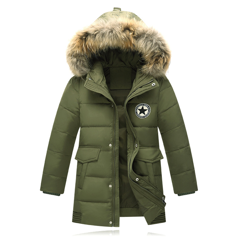 2017 New Boys Winter Coats Children Outwear Fur Collar Boys Hooded Down Jackets Stars Patchwork Long Duck Down Warm KidsJacket 1 pcs 38 38cm small heat press machine hp230a
