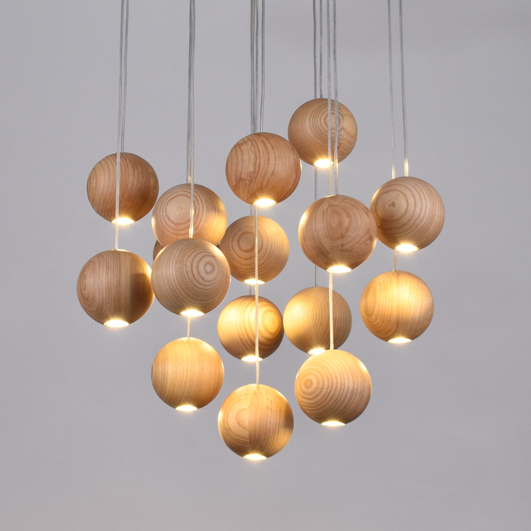 Novelty Wooden Ball Indoor Pendant Light Fixture Luminaire Kitchen Lamp Dining Room Restaurant Modern Hanging Lamps Home Deco