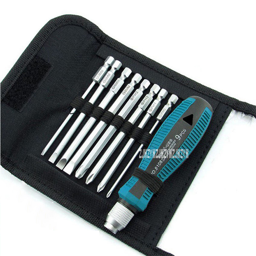 9-Pc Screwdriver Set Bag Screwdriver Wallet Tool Kit Precision Opening Repair Tool Cross Screwdriver Batch Slot Type Screwdriver