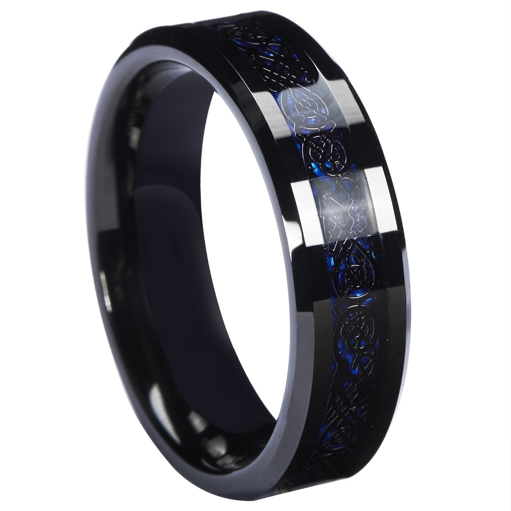 6mm Blue Black Silvering Celtic Dragon Tungsten Carbide Ring Wedding Anniversary Band Jewelry