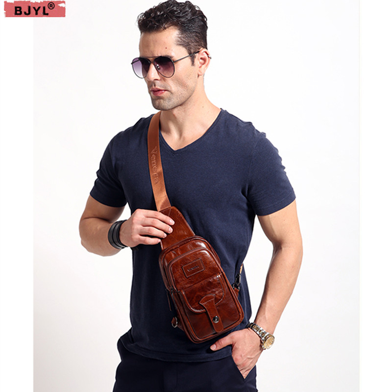 BJYL Genuine Leather Men chest bag 2018 new wave leather mens bag casual shoulder Messenger bag retro packetBJYL Genuine Leather Men chest bag 2018 new wave leather mens bag casual shoulder Messenger bag retro packet