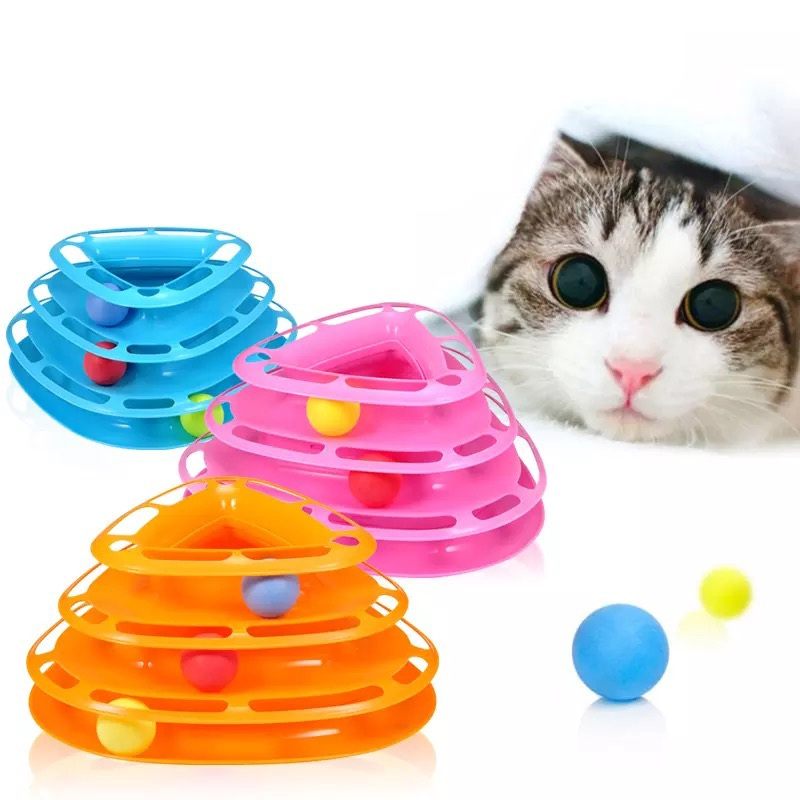 New Funny Cat Pet Toy Cat Toys Intelligence Triple Play Disc Cat Toy Balls CN
