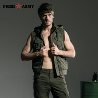 New Arrival Men Casual Vests Plus Size Male Big Size Multi Pockets Waistcoats Army green Outdoors Vest MS 6080A