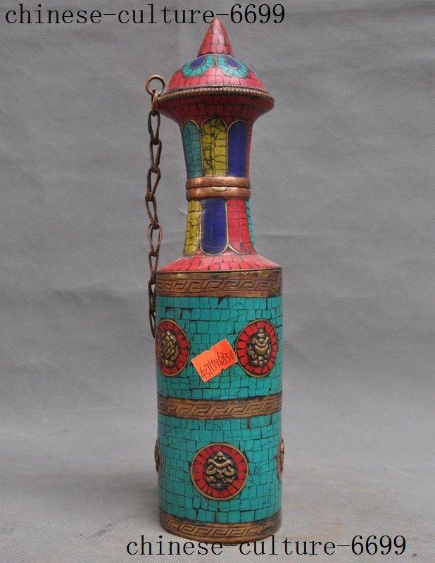 christmas Tibet bronze turquoise Red Coral lapis lazuli eight treasures pot Incense barrel