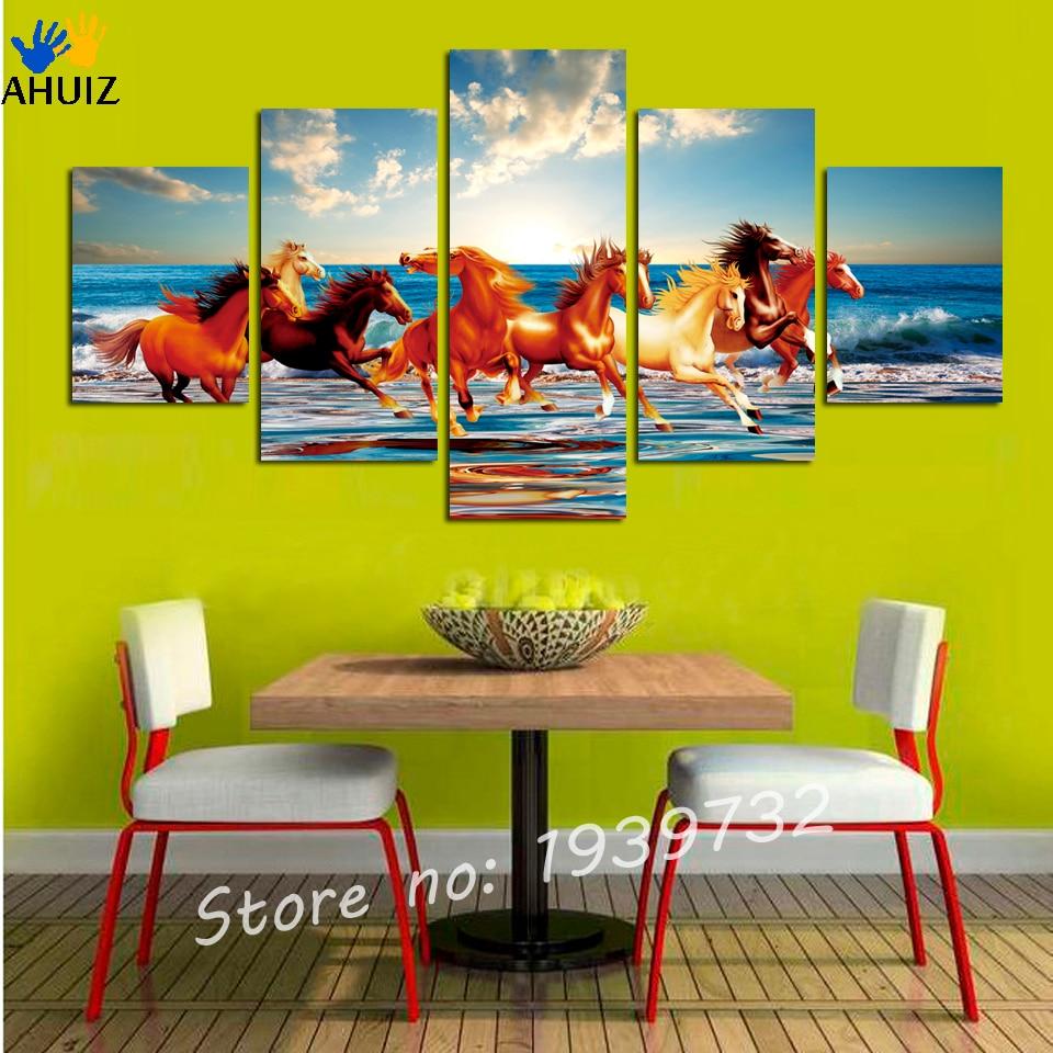 Aliexpress.com : Buy 5 Panels Canvas Print Painting Modern Running ...