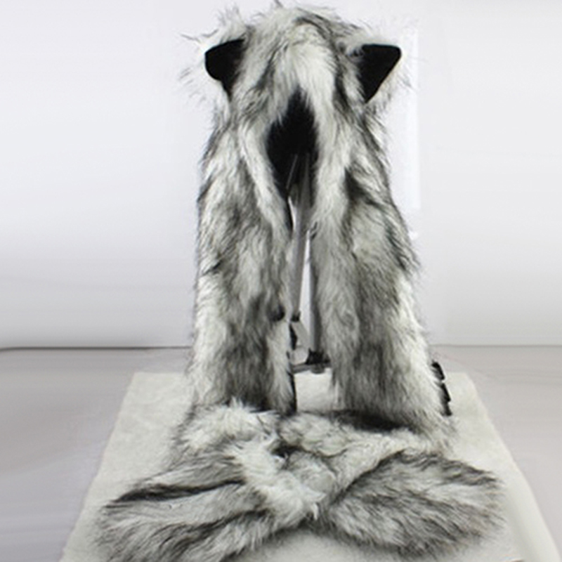 Women Fashion Wolf Ears Paws Faux Fur 3 In 1 Women's  Hat Scarf Mittens Winter Warm Cap Wolf Hat