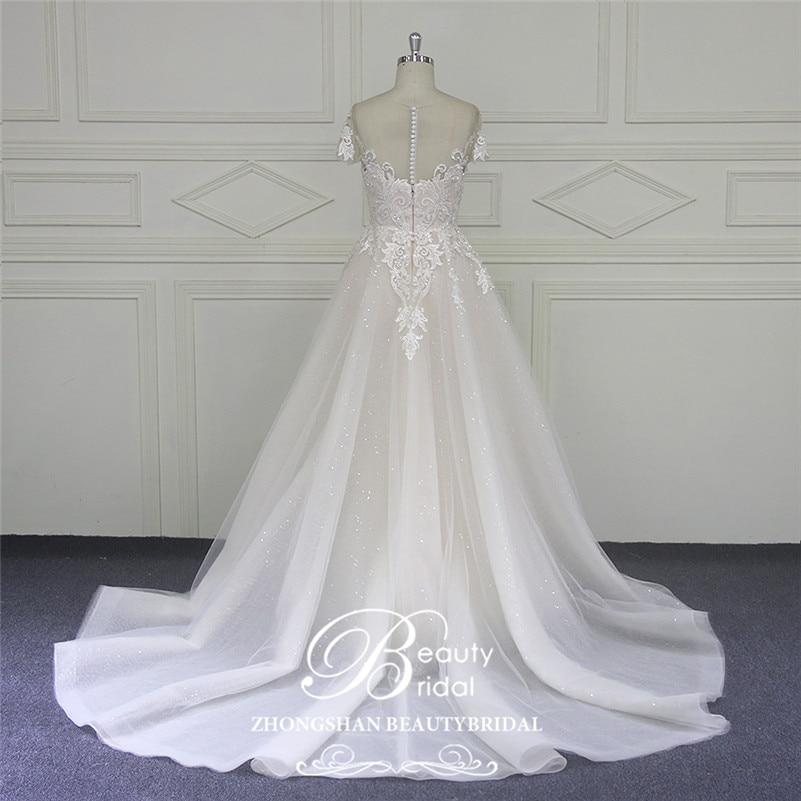 Image 3 - Beautybridal Custom made lace Beads Wedding Dresses round illusion neckline wedding gown short sleeves Vestido de Noiva LS706Wedding Dresses   -