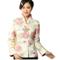Hot Sale Multicolor Chinese Women's Satin Jacket Print Tang Suit Traditional Button Floral Coat Size S M L XL XXL XXXL