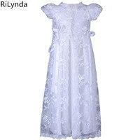 Hot Koop Ivoor kleur en Lengte van de Nieuwe verjaardag Baby Dress Meisje Doopkleedjes Meisje Doop Jurken