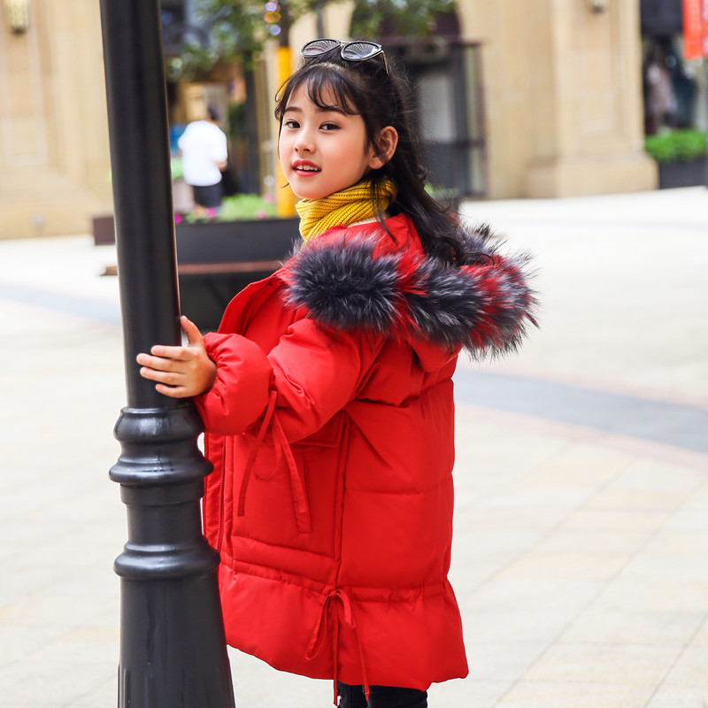 HSSCZL Girls Duck Down Jacket 2018 New Brand Winter Thicken Girl Children Coat Hooded Natural Fur Collar Outerwear Overcoat 5-14 2013 winter brand fashion luxury natural white fox fur collar hood denim jacket duck down jacket women outerwear s m l xl d2124