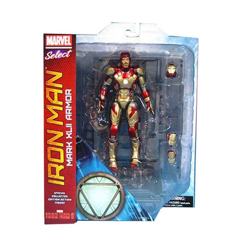 Movie Select Tony Stark 3 Mark XLII MK42 Armor Hero 18cm/7 Action Figure Free Shipping super hero iron man 3 mark 42 tony stark set cute 10cm pvc action figure collection model toy 349 free shipping 324