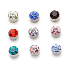 Candy Colors Crystal Double Side Parts Magnet Silver No piercing Jewelry for Women Double Sided Stud Earrings(China)