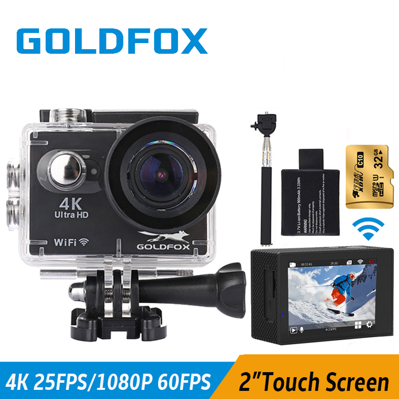 Goldfox Newest 4K Sport Action Camera 2 Touch Screen Go Waterproof Pro Full HD 1080P Sport DV Wifi Action Video Bike Helmet Cam wimius 4k action cam wifi 20m mini sport helmet fpv camera full hd 1080p go waterproof underwater 30m pro dvr for bike motorcyle