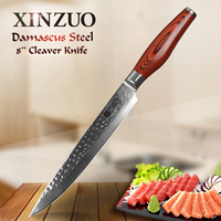 XINZUO 8 Cleaver Knife Japanese Damascus Knife Kitchen Tools Slicing Knives Dealing with Meat Vegetables with Pakkawood Handle
