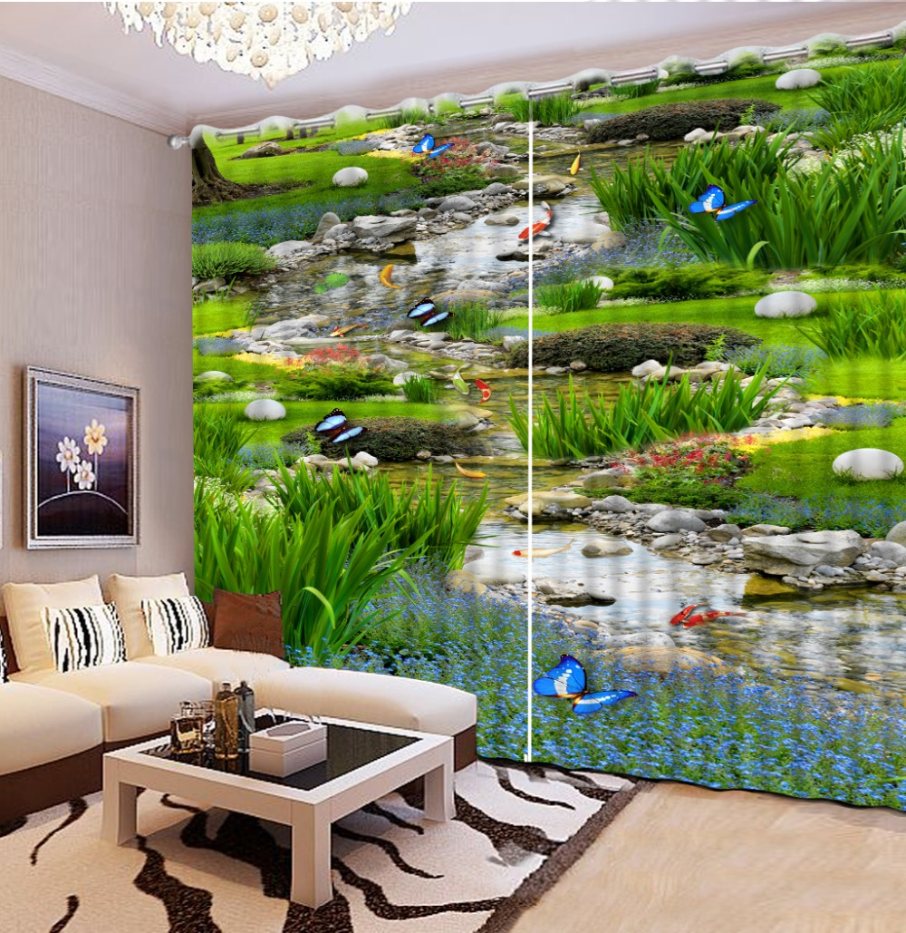 Nature Landscape 3D View printing Blackout Curtain Custom Childrens Curtain for window Blackout Shade Window Curtains