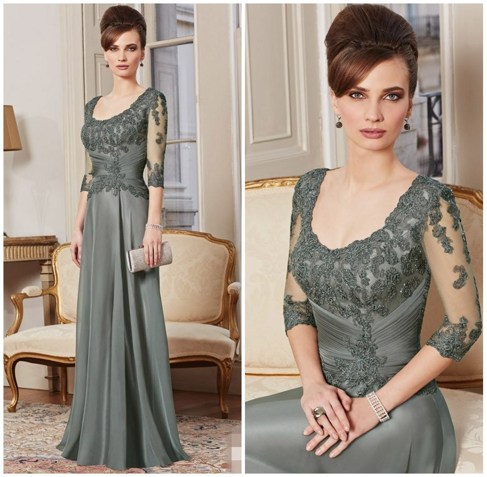 2015 New Custom Made A Line 3/4 Sleeve Beaded Lace Floor Length Evening Gown Mother Of The Bride Dresses Vestido Mae Da ZY4609
