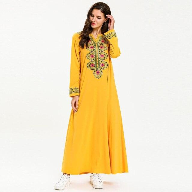 Jilbab Kleid Islam Festa Plus Größe Arabischen Longo Sommer 2019 Frauen De Lose Vestido Stickerei Muslimischen Langarm reEodxQBWC