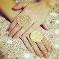 Новая мода ювелирные изделия металла с позолоченными Круглые Монетки палец кольцо подарок для девушки женщин R1413