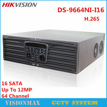 Hikvision NVR 64CH DS-9664NI-I16 HD Embedded 4K Network Video Recorder H.265 16 SATA HDMI VGA UP to 12Mp Upgradable NVR